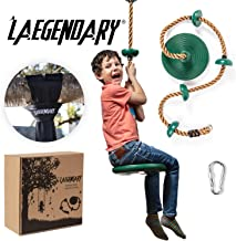 Climbing Rope Tree Swing with Platforms and Disc Swings Seat - Playground Swingset Outdoor Accessories for Kids - Trees House Tire Flying Saucer Swing Outside Toys - Bonus Carabiner and 4 Feet Strap