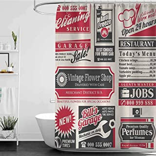 homecoco Bathroom Decor Sets with Shower Curtains and s Vintage Retro,Retro Newspaper Magazine Design Outdated Layout Different Topics Title Artwork,Cream Red Black W60 x L72,Shower Curtain for Men