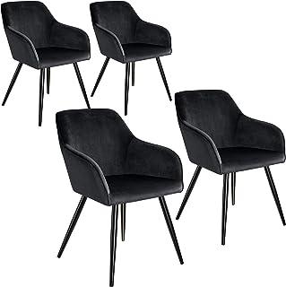 tectake 800866 Cuatro sillas de Comedor, Juego de 4 sillas para el salón, Conjunto de Asientos para la Cocina, Set de Muebles de Interior (Negro-Negro)