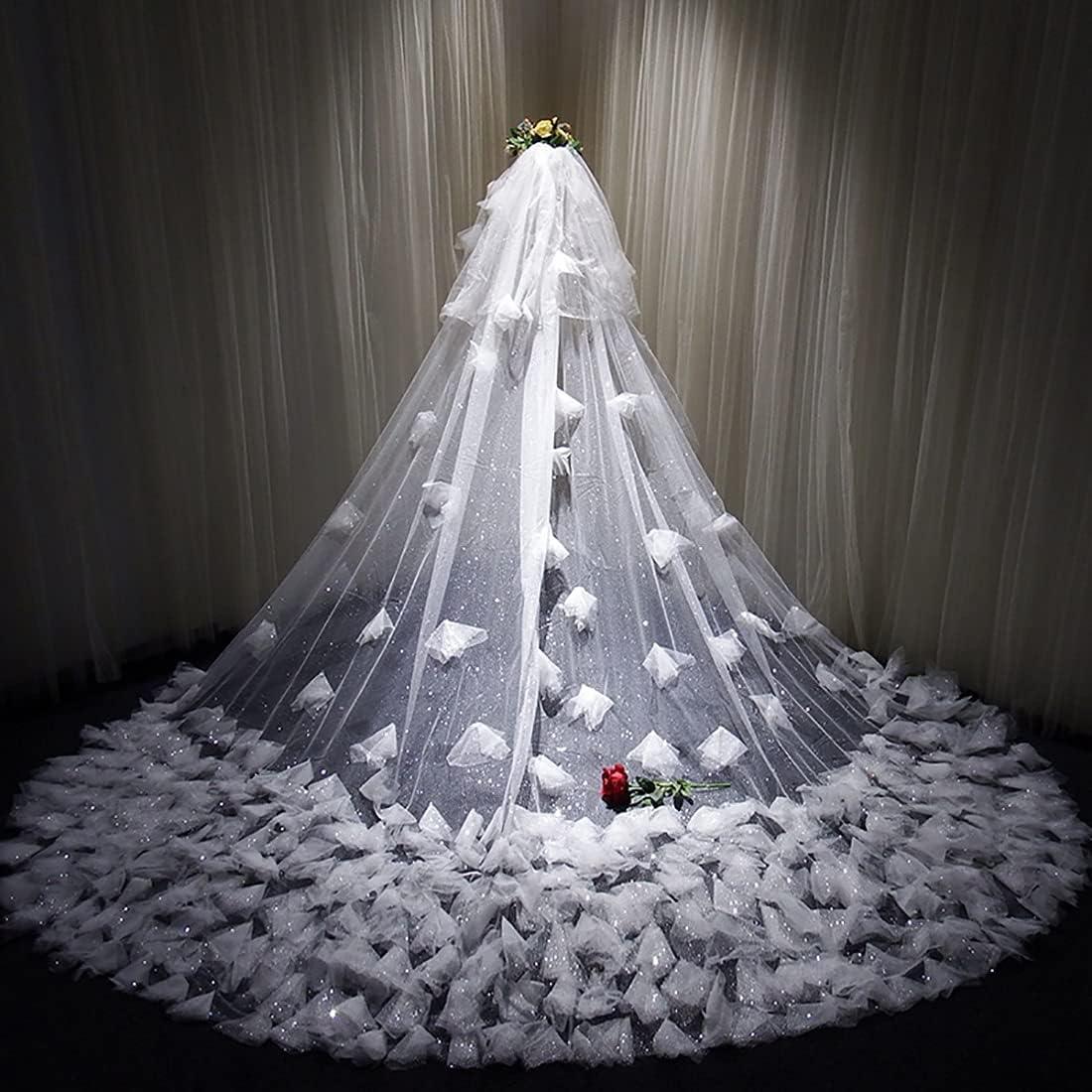 QXZ-WOLFBERRY Shiny Free shipping trend rank Romantic lace Long Wedding Ca 157-inch Veil