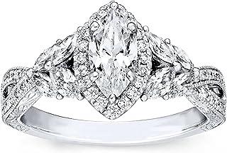 1-3/8 Carat (ctw) D-VVS1 Moissanite Engagement Rings For Women Platinum Plated Silver Rings Moissanite Rings