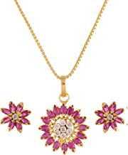 Efulgenz 14 K Gold Plated Cubic Zirconia Hypoallergenic Floral Real Gold Look Alike Pendant Necklace Earrings Jewelry Set for Women Girls