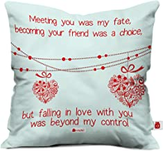 Indigifts indibni Printed Micro Satin Fibre Cushion Cover with Filler, 12x12 inches, White