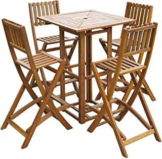 Tidyard 5 Pieces Outdoor Bar Set and Folding Bar Chairs with Footrests Space Saving Dining Set Garden, Patio with Parasol Hole Acacia Wood 29.5
