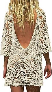 Mini-jurk voor dames, tuniek, trui, kimono, bohemien, open rug, bikini, cover-up, gehaakte jas/strandjurk, kant, gehaakt, ...