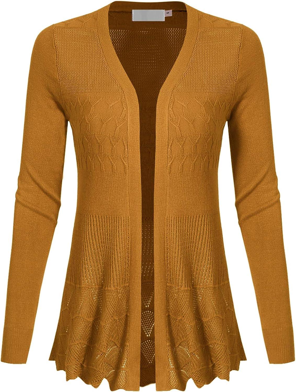 MAYSIX APPAREL Long Sleeve Lightweight Crochet Knit Sweater Open Front Cardigan for Women (S-2XL)