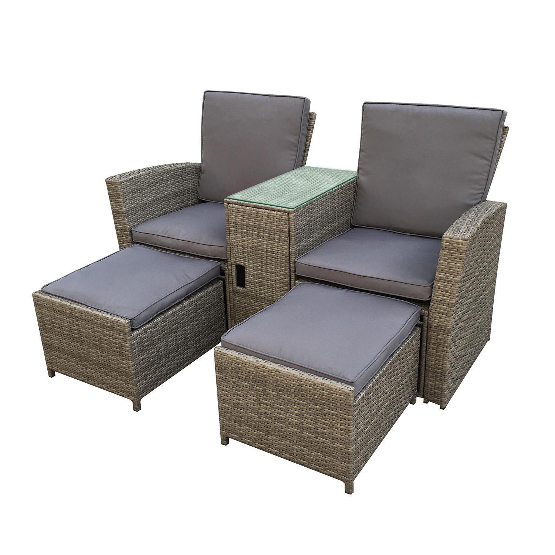 IMS Garden Munga 2 places-ensemble – Juego de dos sillones de jardín resina tressée-gris natuel, cn-90003gg: Amazon.es: Jardín