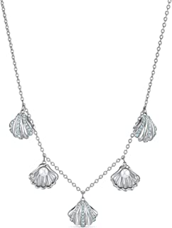 Swarovski Women's Shell Pearl Necklace, Stunning Shell Necklace with Crystals, Rhodium Plated, from the Amazon Exclusive S...