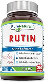 Pure Naturals Rutin 500 Mg Tablets (Non-GMO)- Helps Neutralize Free Radicals* Supports Vascular Health* Aids in Absorption...