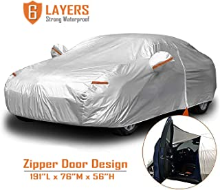 "CARBABA Car Cover, Universal Full Car Covers with Zipper Door, 6 Layers All Weather Protection Waterproof/Windproof/Scratch Resistant/Reflective Strips for Sedan Wagon Use (177"" - 191"")"