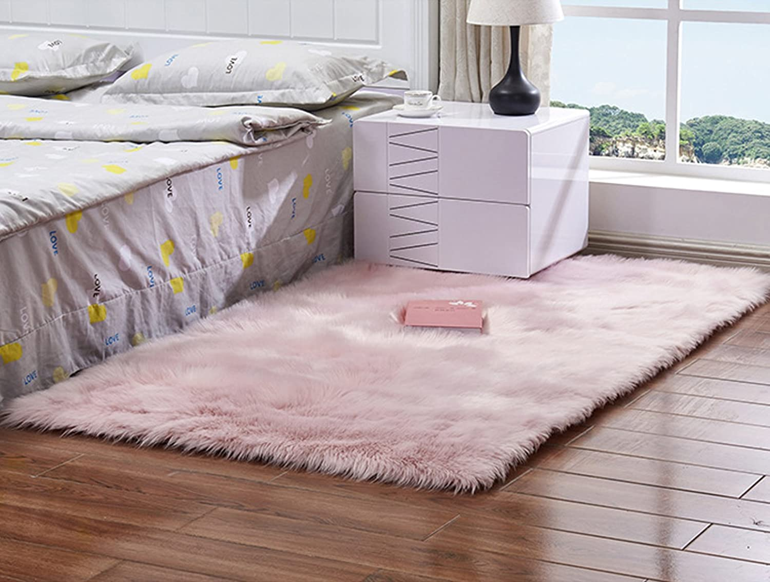 Meng Ge Soft Faux Sheepskin Chair Cover Seat Shaggy Area Rugs Fluffy Fuax Fur Shag Rug Carpet 3x5ft,Light Pink