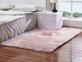 Meng Ge Soft Faux Sheepskin Chair Cover Seat Shaggy Area Rugs Fluffy Fuax Fur Shag Rug Carpet Light Pink