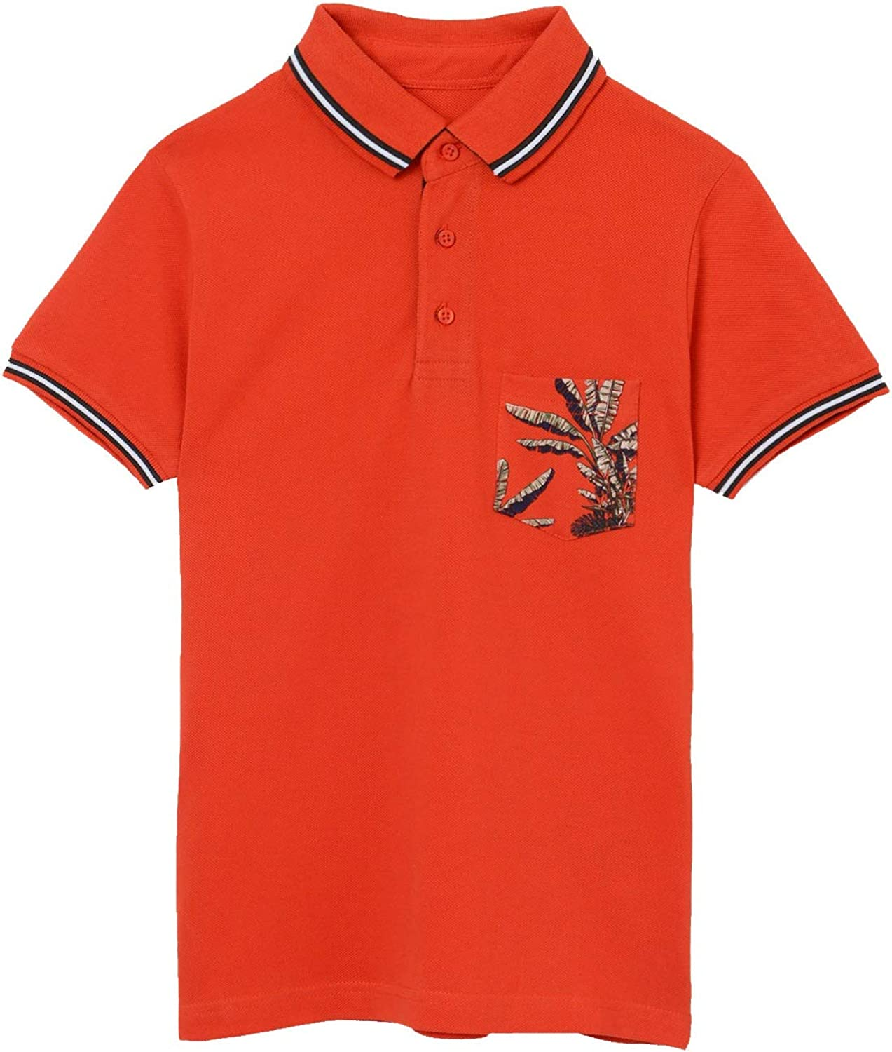 Mayoral - Short Sleeve Patterned Polo for Boys - 6108, Hibiscus