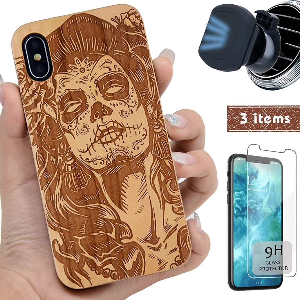 iProductsUS Wood Phone Case Compatible with iPhone Xs Max,Magnetic Mount and Screen Protector-Engraved Skull Girl,Compatible Wireless Charger,Built-in Metal Plate,TPU Rubber Protective Cover(6.5