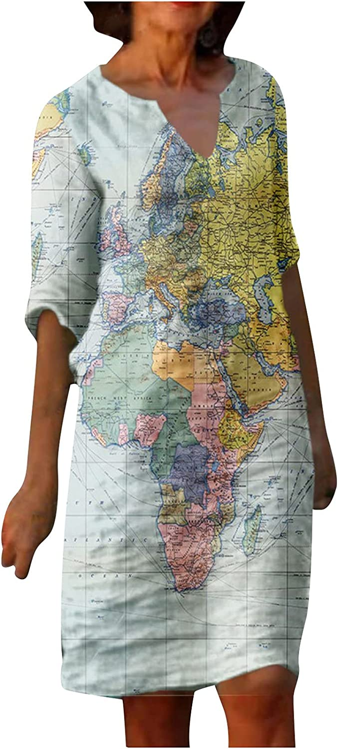Ranoff Summer Dress for Women V Neck Short Sleeve Beach Sundress World Map Graphic Party Ball Gowns Casual Loose Midi Skirt