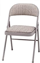 MECO 4-Pack Deluxe Fabric Padded Folding Chair, Chicory Lace Frame and Motif Fabric Seat and Back