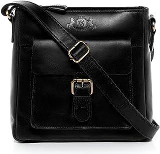 SID & VAIN Schultertasche echt Leder Yale klein Handtasche Schultergurt Umhängetasche Ledertasche Damen