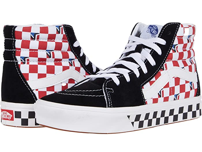 Vintage Sneakers, Retro Designs for Women Vans ComfyCush SK8-Hi Dimension BlackRedBlueChecker Athletic Shoes $64.99 AT vintagedancer.com
