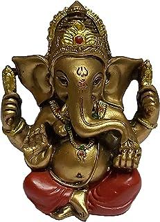 PARIJAT HANDICRAFT The Blessing A Colored Statue of Lord Ganesha Ganpati Elephant Hindu God Idol Made from Polyresin (Gold...