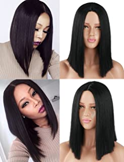 Fani Bob Wigs 14 Inches Synthetic Hair Cosplay Daily Party Wig Short Straight Hair Black Middle Part Wig (with a Free Wig Cap)