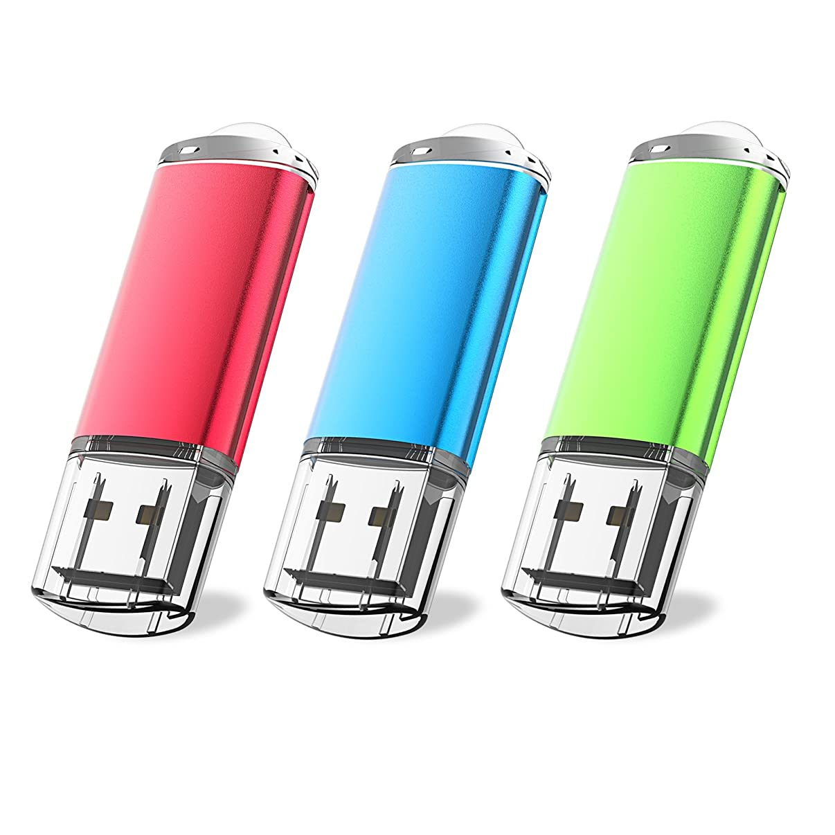 JUANWE 3 Pack 16GB USB Flash Drive USB 2.0 Thumb Drives Fold Storage Memory Stick Pen - Red/Blue/Green(16GB,3 Mixed Color)