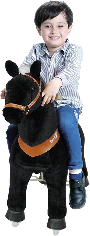 PonyCycle offiziell Reiten auf Pferd gehendes Tier Plüschtier fahrbar Keine Batterie Keinen Strom mechanisch schwarz mittel für Alter 4-9 Kind   Baby klingen B06ZYT437B Neuheit Spielzeug  | Qualitätskönigin