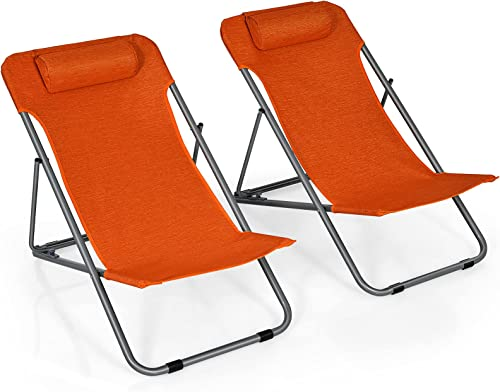 discount Giantex Beach Chair for Adults Camping Chair Set, Sunbathing Backpack popular Folding Recliner outlet online sale with 3 Adjustable Position, Lockable System, Headrest, Non-Slip Foot Pads, Lightweight Sand Chair (2, Orange) online