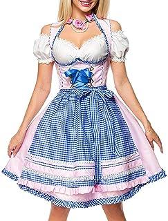 Dirndline Dirndl Set Tracht Kleid Trachtenkleid Dirndlkleid Oktoberfest Rosa Blau XS-3XL