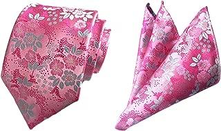 Mens Light Pink Floral Flower Suit Tie Handky Spring Necktie & Pocket Square Set