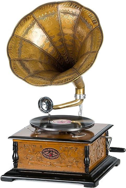 Grammofono a tromba con piatto in ceralacca stile antico evocativo aubaho B00AFDV466