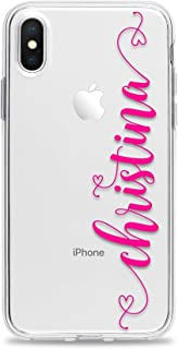 Personalized Phone Case Clear iPhone XS Max XR X 10 8 Plus 7 6s 6 SE 5s 5 with Custom Name Hearts Slim Soft Rubber