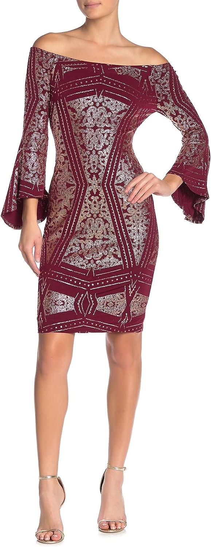 JUMP Women's Off The Shoulder 3/4 Sleeve Glitter Jersey Slim Midi Dress