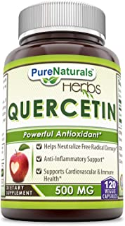 Pure Naturals Quercertin 500 Mg Veggie Capsules (Non-GMO)- Anti- inflammatory Support, Supports Cardiovascular and Immune ...
