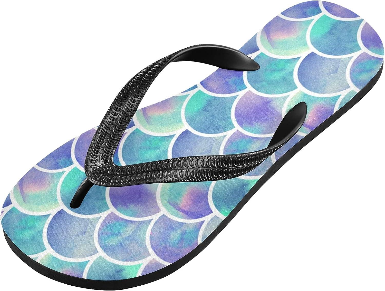 Qilmy Watercolor Rainbow Scales Of Mermaid Flip Flop Casual Lightweight Non-slip Summer Sandals Women's Men Slippers,S