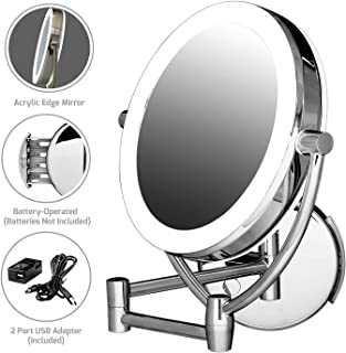 Ovente MLW45CH 9.5-Inch LED Lighted Wall Mount Makeup Mirror, 1x/10 Magnification, Polished Chrome