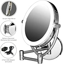 """Ovente Wall Mount Mirror, 1×/10× Magnification, Premium Acrylic Frame, Diffused LED Ring Light, 9.5"""", Battery- or USB Adapter-Operated (MLW45CH1X10X)"""