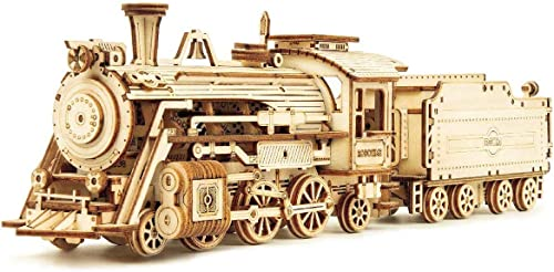 discount ROKR 3D popular Wooden Puzzle for Adults-Mechanical Train Model Kits-Brain Teaser Puzzles-Vehicle Building Kits-Unique Gift 2021 for Kids on Birthday/Christmas Day(1:80 Scale)(MC501-Prime Steam Express) online sale