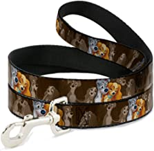 Buckle-Down Dog Leash Lady and Tramp 2 Poses Spaghetti Kiss Scene Browns Available in Different Lengths and Widths for Small Medium Large Dogs and Cats