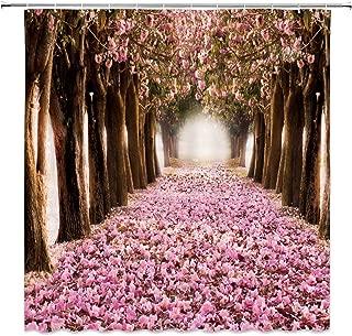 dachengxing Romance Sakura Shower Curtain Gardening Art Decor Early Spring Cherry Blossoms Petals Falling Flower Sea Landscape,Waterproof Pink Brown Fabric 70x70 Inch Hooks Included