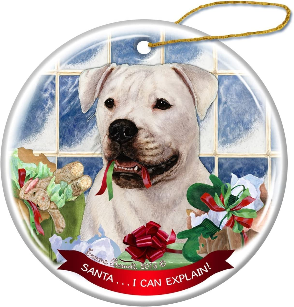 Black Pug Dog Porcelain Hanging Ornament Pet Gift /'Santa. I Can Explain!/'