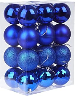 Christmas Decorations,H HOME-MART 24pcs 6CM Christmas Ball Baubles Assorted Pendant Shatterproof Ornament Set Xmas Tree De...