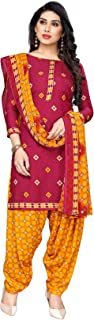 TreegoArt Fashion Women's Crepe Printed Unstitched Salwar Suit Dress Material With Dupatta -(Free Size) Purple