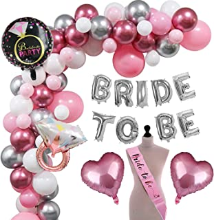Party Propz Bride To Be Decoration Set Combo - 48Pcs With Silver Bride To Be Foil balloon, Metallic Balloons, Ring Foil Ba...