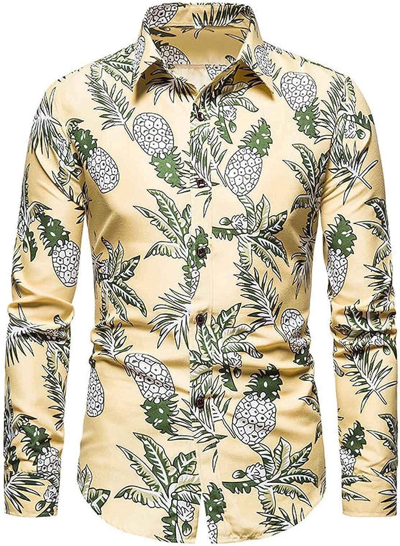 Men Floral Dress Shirts Long Sleeve Casual Button Down Flower Printed Beach Hawaiian Shirts
