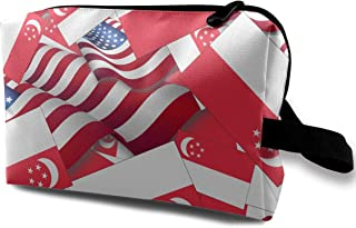SKYLIHGT Singapore Flag with America Flag Toiletry Bag Multifunction Cosmetic Bag Portable Makeup Bag Waterproof Travel Hanging Organizer Bag