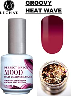 LeChat Perfect Match Mood Color Changing Gel Polish (with Nail Glitter Kit) LED & UV Cured Soak Off Nail Formula 0.5 oz (Groovy Heat Wave)