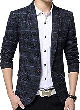 S&S-Men Slim Fit Plaid Casual One Button Blazer Sport Suits Tuxedo Jacket