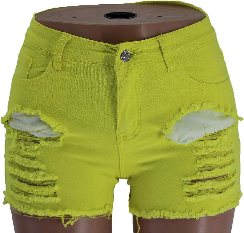 Qinvern Women's Denim Shorts Ripped Holes Fashion Streetwear Washed Distressed Fray Hem