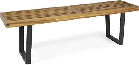 Christopher Knight Home Joa Patio Dining Bench, Acacia Wood with Iron Legs, Modern, Contemporary, Teak Finish, Black