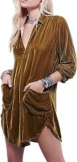 xianhuabing Camisa De Terciopelo Dorado Falda con Cuello En V Camisa Suelta De Manga Larga De Modas Casual 2021 Estilo Cal...